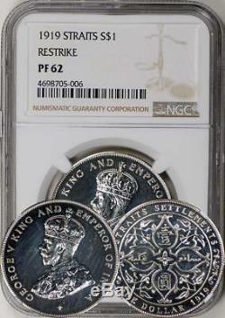 Straits Settlements 1919 Restrike Proof Dollar NGC PF-62. LUSTER. RARE
