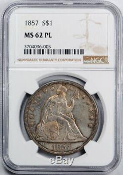 1857 Dollar Liberté Assis Ngc Ms 62 Pl Ongecirculeerd Preuve Comme Pop 1