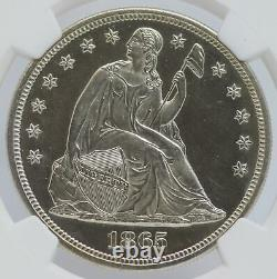 1865 Seated Liberty Silver Dollar $1 Ngc Pf64 Proof Certfified Coin Jc837