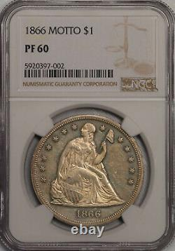 1866 Devise $1 Ngc Proof 60 Seated Liberty Dollar