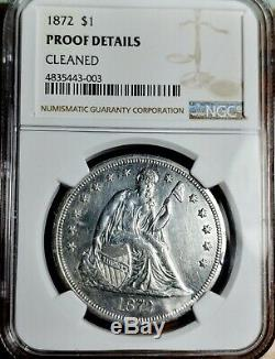 1872 $ 1 Preuve Liberté Dollar Seated Ngc Détails Preuve Nettoyé # S15