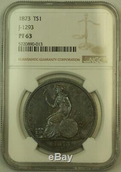 1873 Preuve Motif Du Commerce Silver Dollar 1 $ Ngc Pf-63 Judd-1293 Noir Et Blanc (kh)