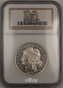 1878 $ En Argent Épreuve Numismatique 1 Goloid Dollar Métrique Motif Monnaie J-1564 Ngc Pf-61 Ww