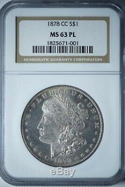 1878-cc Morgan Ngc Ms63pl Proof-like Silver Dollar, La Première Année Carson City
