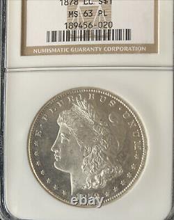 1878-cc Morgan Ngc Ms63pl Proof-like Silver Dollar, Première Année Carson City