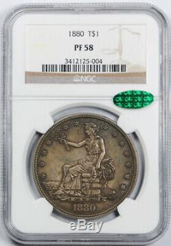 1880 1 Dollar Trade T $ Ngc Pf 58 Preuve Pr Clés Date Cac Approuvé Pop 3