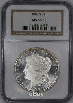 1880 S Morgan Silver Dollar 1 Ngc Cert $ 66 Mme Mint État Pl Preuve Comme (008)
