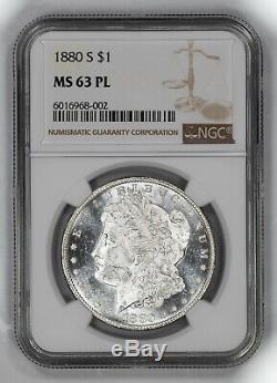 1880 S Morgan Silver Dollar 1 Ngc $ Certifié Mme 63 Preuve Comme Pl Mint Unc (002)