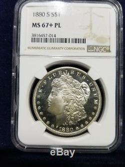 1880-s 1 $ Morgan Silver Dollar Ngc Ms 67+ Pl (plus Grade Proof Like)