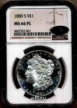 1880-s Morgan Ngc Ms-66-pl Cac Cameo Proof Comme Silver Dollar San Francisco Mint