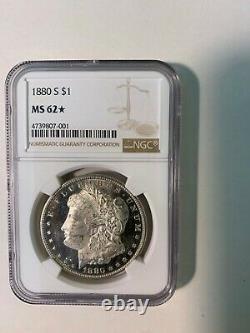 1880-s Ngc Ms62 (star) Dmpl Deep Mirror Proof-like Averse Morgan Silver Dollar