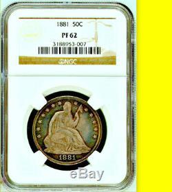 1881 Ngc Pr62 + 975 10 000 Mintage Preuve Liiberty Demi-dollar Assis Key 50c