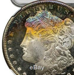 1881-s Morgan Dollar Ms67 Pl Star, Comme Preuve, Ngc, Or, Bleu Arc-en-toned