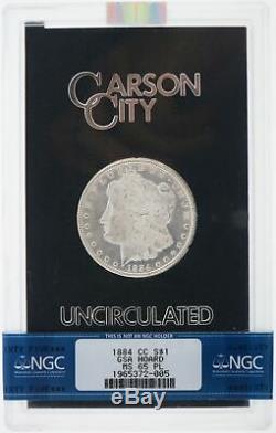 1884 CC Carson City 1 $ Morgan Silver Dollar Ngc Ms65 Pl Preuve Comme Gsa Hoard