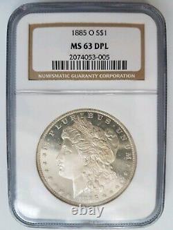 1885 O Argent Morgan Dollar Ngc Ms 63 Dpl Miroirs Profonds Preuve Comme Dmpl Pièce Pl