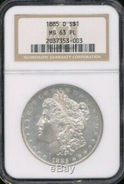1885-o Morgan Dollar Ngc Ms 63 Pl Preuve Comme Surfaces Older Titulaire