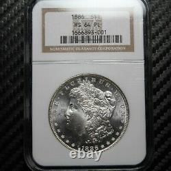 1886 Morgan Silver Dollar Ngc Ms64 Pl Loint Comme (93001)