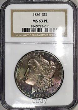 1886-p Morgan Dollar Ngc Ms63pl Preuve Comme Violet Rainbow Tonique Vieux Titulaire Oh