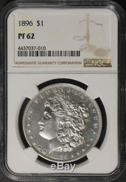 1896 Morgan Dollar En Argent Épreuve Numismatique Ngc Pf62 Blanc Brillant De Nice Eye Appel