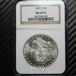 1898-o Morgan Silver Dollar Ngc Ms64 Pl Proof Like (09001)