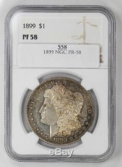 1899 Preuve Morgan Silver Dollar $ 1 Ngc Certifié Pf 58 Preuve Unc (558)