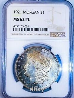 1921 P Ms62 Pl Morgan Silver Dollar Proof Like/ Rare Coin. Titulaire Du Mbac. 031