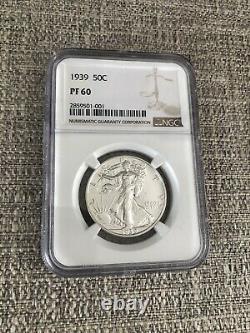 1939 Proof Walking Liberty Demi-dollar 50c Ngc Certifié Pf 60