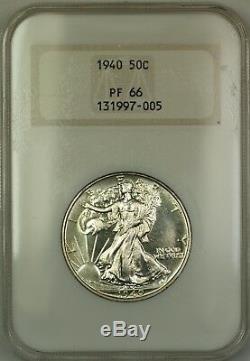 1940 Walking Liberty Silver Half Dollar Coin Old Mbac Logo Élevé Pf-66 Gem Proof