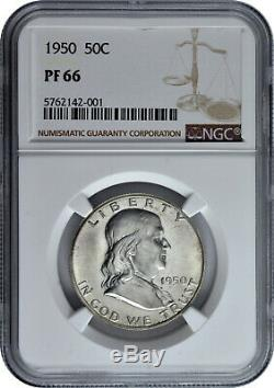 1950 50c Silver Proof Franklin Half Dollar Ngc Pf 66