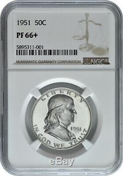1951 50c Silver Proof Franklin Half Dollar Ngc Pf 66+