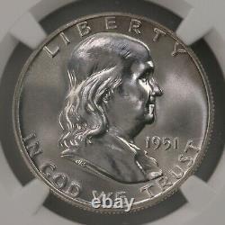 1951 Franklin 50c Ngc Cac Certifié Pf65 Proof Struck Argent Demi-dollar Pièce