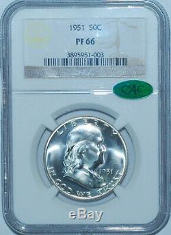 1951 Ngc Pr66 Cac Preuve De Grève Franklin Half Dollar