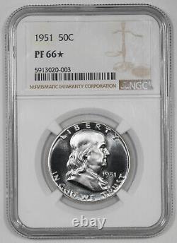 1951 Preuve Franklin Demi-dollar 50c Ngc Certifié Pf 66 Étoile (003)