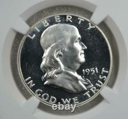 1951 Preuve Franklin Demi-dollar Ngc Pf 64 Cameo
