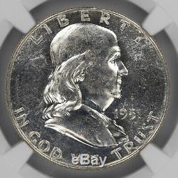 1951 S Franklin Half Dollar 50c Ngc Certifié Mme 65 Pl Monnaie Unc Proof-like (017)