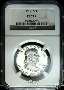 1952 Ngc Preuve 67 Étoiles Franklin Half Silver Dollar Great Set Builder 005