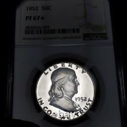 1952 Pf67 Star Franklin Half Dollar 50c Preuve, Ngc Graded Pr67