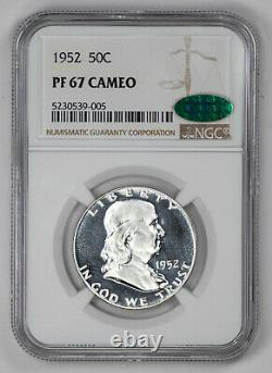 1952 Proof Franklin Half Dollar 50c Ngc & Cac Certified Pf 67 Unc Cameo (005)