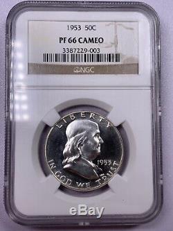 1953 Ngc Pf66 Cameo Franklin Half Dollar Proof