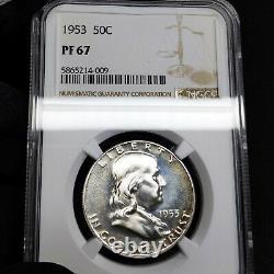 1953 Pf67 Franklin Half Dollar 50c Preuve, Ngc Graded Pr67, Light Tone
