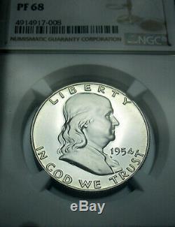 1954 Franklin Pf68 Argent Half Dollar Ngc Proof 68