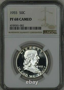1955 50c Preuve Franklin Half Dollar Ngc Certifié Pr Pf 68 Cameo Superbes