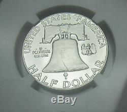 1955 Franklin Pf 69 Cameo Argent Half Dollar Ngc Preuve 69 Cameo