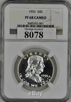 1955 Franklin Preuve D'argent Demi-dollar 50c Ngc Pf 68 Cameo