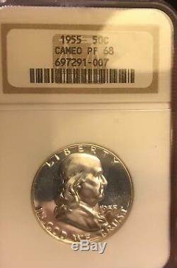 1955 Franklin Preuve Demi-dollar Ngc Pr68. Camée