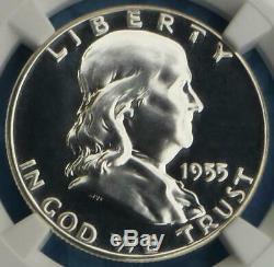 1955 Ngc 69 Preuve Franklin Argent Half Dollar, Gem Pf 69, Cameo Inverse