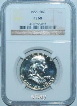 1955 Ngc Pr68 Preuve Franklin Half Dollar