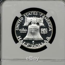 1955 Pf69 Franklin Half Dollar 50c Preuve, Ngc Graded Pr69. Cameo Inverse