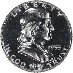 1955 Preuve Franklin Demi-dollar 50c Ngc Certifié Pr Pf 67 Spot Haze Gratuit