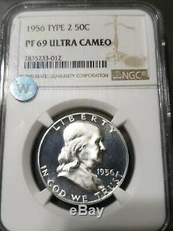 1956 2 Franklin Argent Half Dollar 50c Coin Ngc Pf-69 Ultra Cameo Stunner